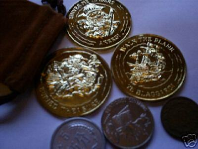 set of 10 pirate gold play doubloons in suede bag-tie to belt