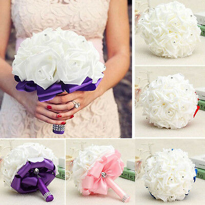 Bridesmaids Wedding Bouquet, Ivory and Coral Foam Roses with Diamante