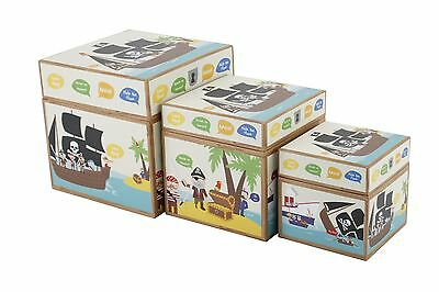 3 Kids Pirate Themed Storage Boxes Bedroom Decor Childrens Room Set