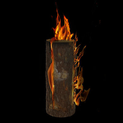 Wooden Fire Log Torch Hard Wood Spruce Garden Lantern Campfire Light 50cm BBQ