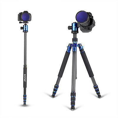 Zomei Z818C Carbon Fiber Tripod Monopod Ball Head for Travel DSLR Camera Outdoor