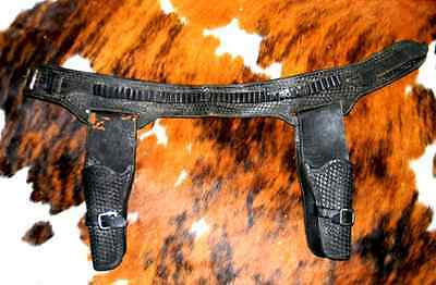 Vintage Antique Old West Era Duel Gun Rig Belt & Holster