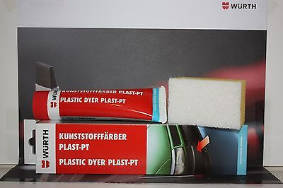 Wurth Black Plastic Dye 75ml Bumpers Rubbers Leather Trim Restore 75ml Tube New