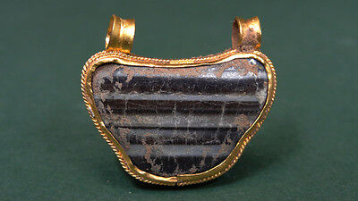 ANCIENT GOLD & AGATE PENDANT MULTI COLORED STRIPED AGATE 1st MILLENNIUM BC