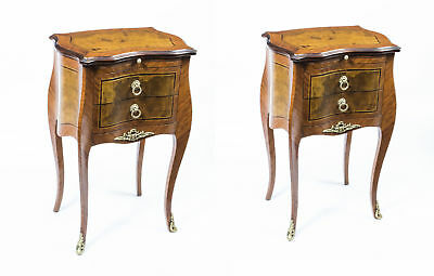 Stunning Pair Inlaid Burr Walnut Bedside Cabinets