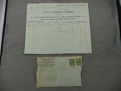 Letterhead Advertising JF Carson & Sons Building Materials Pictou NS 1920
