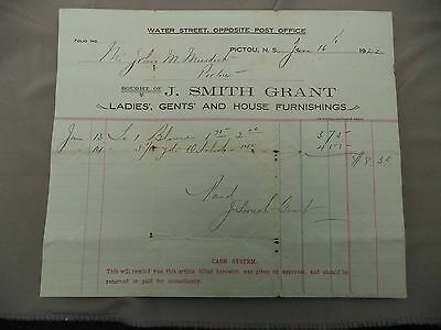 Letterhead Advertising J Smith Grant Ladies Gents House Furnishings 1922 Pictou