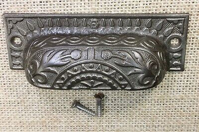 "old Bin Drawer Pull cup handle rustic Daisey flower 4"" restored finish vintage"