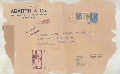 1959 Abarth Fiat Italy ORIGINAL EMPTY Factory Mailing Envelope INCOMPLETE wv9940