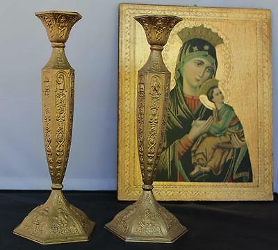 2 Antique Vintage Silverplate Gold Gilt Wash Candle Holders Candlesticks Shabby
