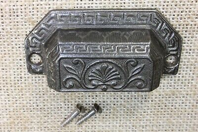 """old Bin Drawer Pull handle feather vines 3"""" cast iron restored vintage 1873 DATE"""
