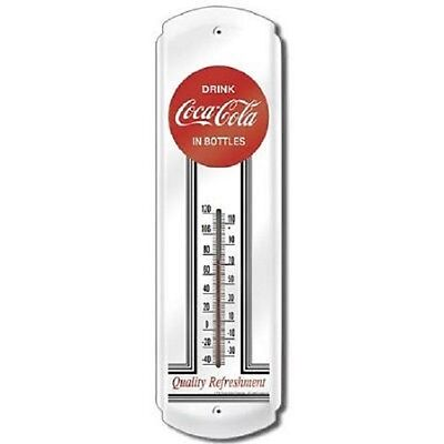 Vintage Style Drink Coca Cola In Bottles Coke Metal Thermometer ~ Made In Usa!