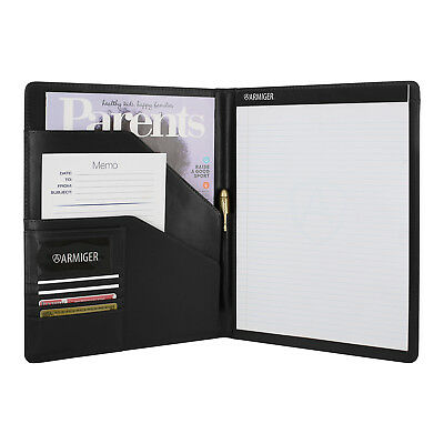 Armiger Executive Bonded Leather Professional Padfolio with Notepad - Black