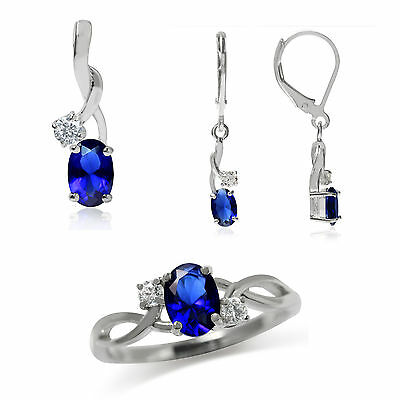 Sapphire Blue & White CZ 925 Sterling Silver Classic Pendant, Earrings or Ring
