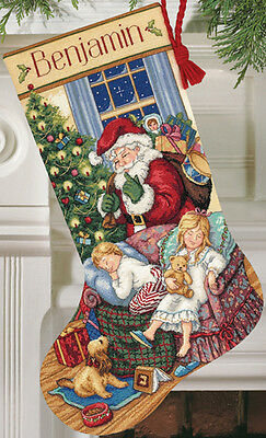"Gold Collection Sweet Dreams Stocking Counted Cross Stitch K-16"" Long 18 Count"