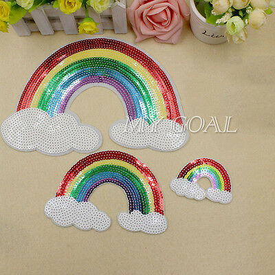 Sequins Rainbow Patch Badge Sew Iron On Clothing Embroidered Fabric Applique