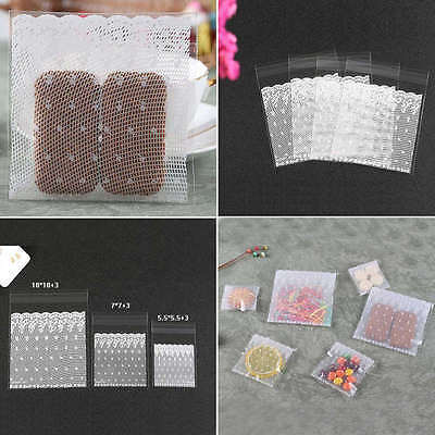 100Pcs Self Adhesive Resealable Lace Clear Plastic Cookies Candy Cellophane Bag