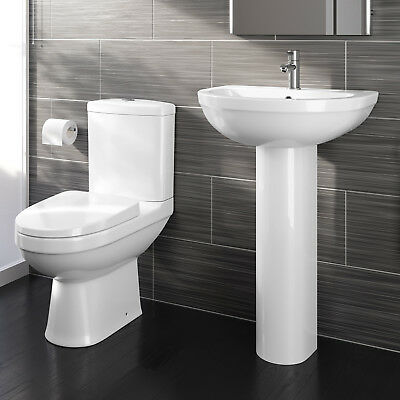 Close Coupled Toilet and Pedestal Basin Sink Modern Bathroom Suite Set White