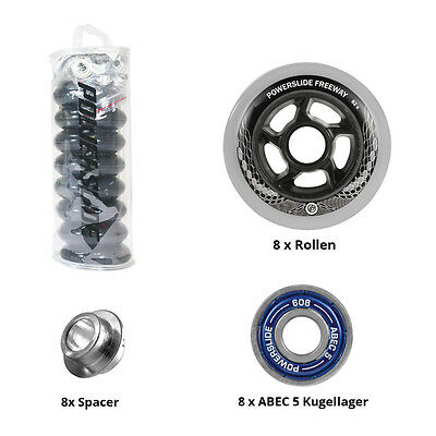 Powerslide Wheels Freeway 8 Rollen Set 80 mm grau