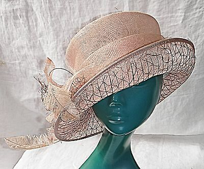 Failsworth Smart Chic Pink Straw Top Hat Assymetric Embellishments Wedding Races