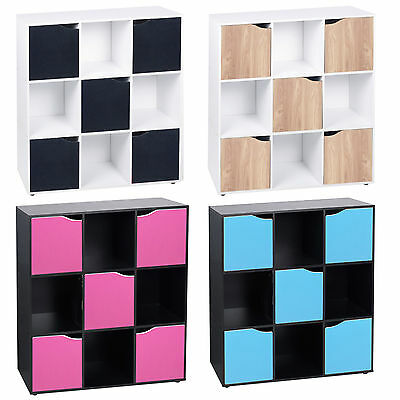 9 Cube Wooden Bookcase Shelving Display Shelves Storage Unit Wood Shelf Door New