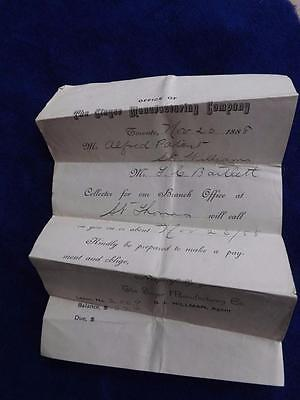 Singer Sewing Machine Manufacturing Company Bill Collection Letter 1888 Canada