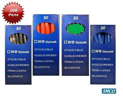 100 Biros 2 Boxes of 50 Ballpoint Pens Colour Choice Black Blue Red 0.7mm