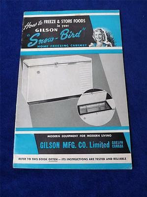 Gilson Snow Bird Home Freezing Cabinet Instruction Booklet Vintage Guelph Canada