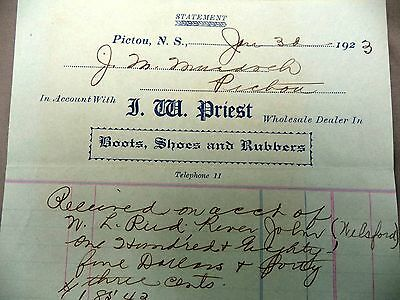 Advertising JW Priest Boots Shoes Rubbers Dealer Pictou NS Statement 1923