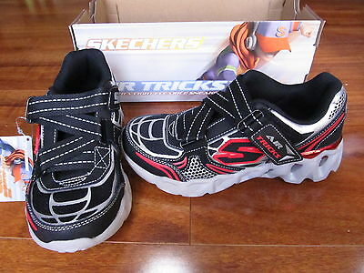 0e4f5ec56 NEW SKECHERS Air Tricks Ory Metrickz Shoes BOYS Black Silver Red 95912L BKSL