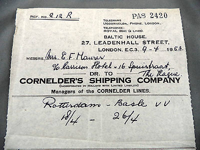Old Baltic House Letterhead Advertising Cornelders Shipping Company London 1953