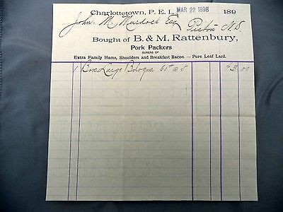Letterhead Advertising B&M Rattenbury Pork Packers Invoice March 22 1898 PEI
