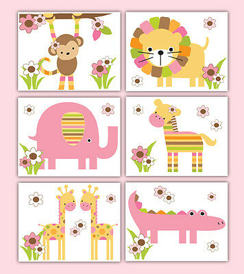 Safari Nursery Prints Wall Art Baby Girl Jungle Animal Decor Shower Gift
