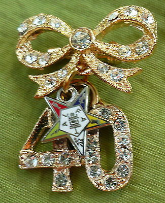 Eastern Star OES 40 years of service pin brooch NEW forty