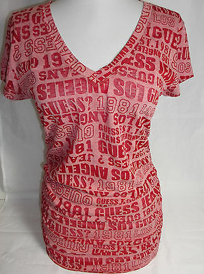 GUESS womens JOJO logo burnout v neck signature red tee top new nwt