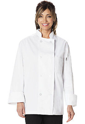 White Dickies Classic 8 Button Unisex Chef Coat DC45 WHT