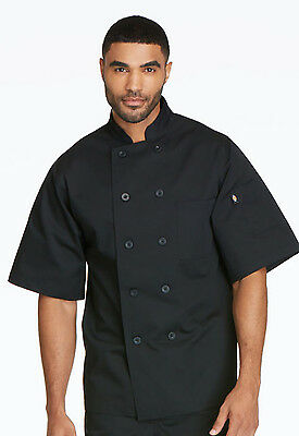 Black Dickies Classic 10 Button Short Sleeve Chef Coat DC49 BLK