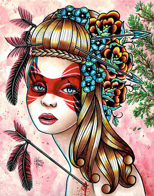 Traitors Arrow Pin Up Girl by Carissa Rose Canvas Giclee Colorful Tattoo Flash
