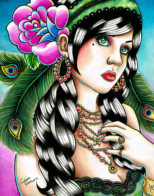 Gypsy Girl Pin Up by Carissa Rose Canvas Giclee Colorful Tattoo Flash Peacock