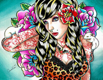 Head Noise Pin Up Girl by Carissa Rose Canvas Giclee Colorful Tattoo Flash