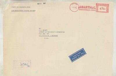 1967 Abarth Fiat Italy ORIGINAL EMPTY Factory Mailing Envelope INCOMPLETE ww0326
