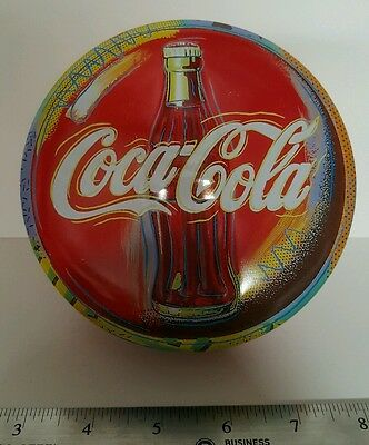 VINTAGE Coca-Cola COKE RED BUTTON Tin Embossed Metal Storage Box CLASSIC L@@K
