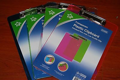 """Lot Of 4pc Transparent Plastic Clipboard 12.5""""x 9.5"""" Free Shipping"""