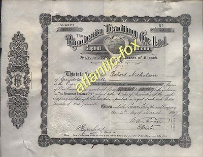 1897 Scarce RHODESIA TRADING Co LTD 500 Shares of £1 + related paperwork