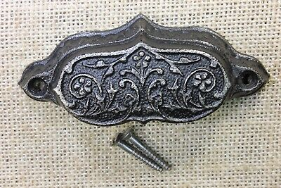 "Bin Pull drawer handle cup old vintage antique 3 flowers 4"" restored finish"