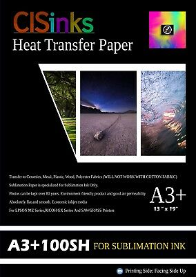 "100 Sheets (13"" × 19"") Sublimation Ink Heat Transfer Paper Inkjet Printer Press"