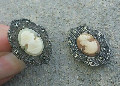 Vintage Sterling Silver Marcasite Cameo Lot 2 Pieces 10.6 Grams