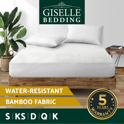 Giselle Waterproof Mattress Protector Queen Bamboo Cover Fully Fitted All Size