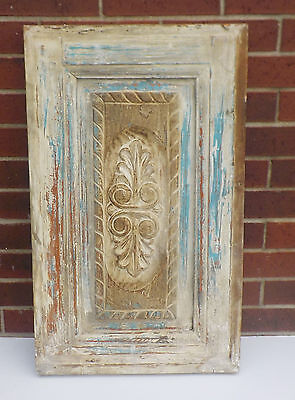 "SPANISH COLONIAL ANTIQUE WOODEN DOOR PANEL ENGRAVED OLD MEXICO 29 3/4"" x 18"" bb"