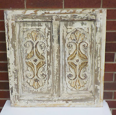 """SPANISH COLONIAL ANTIQUE WOODEN DOOR PANEL ENGRAVED OLD MEXICO  26 3/8"""" x 27"""" dd"""